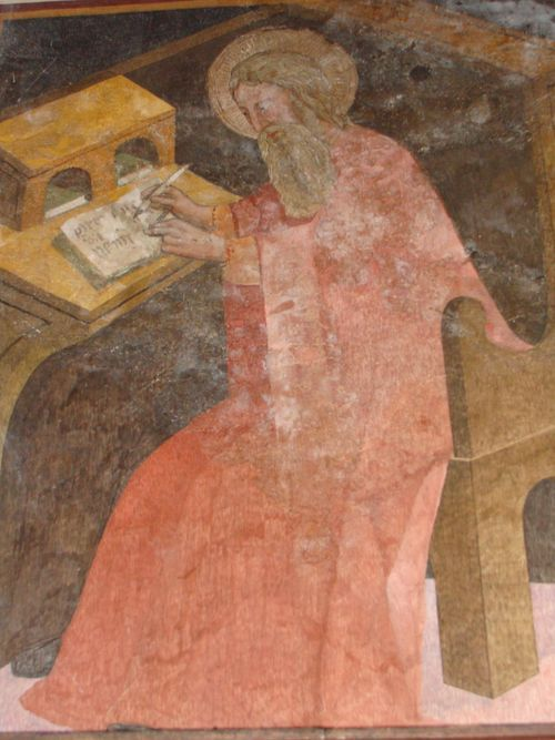 Skryba - jedno z malowideł naściennych w klasztorze