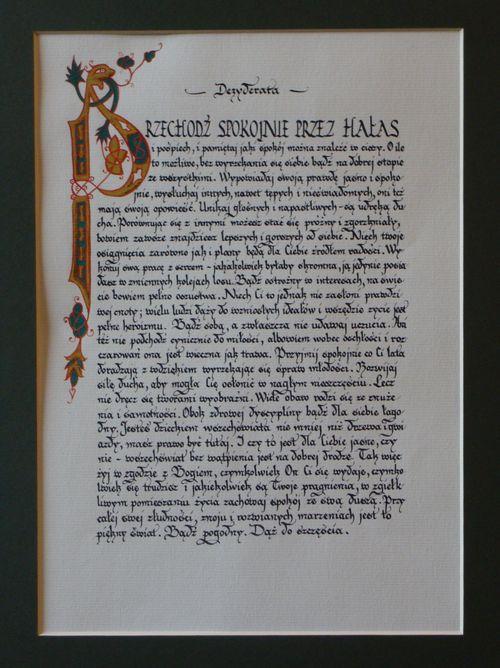 Barbara Bodziony, Dezyderata, kaligrafia, papier, 29 x 21 cm