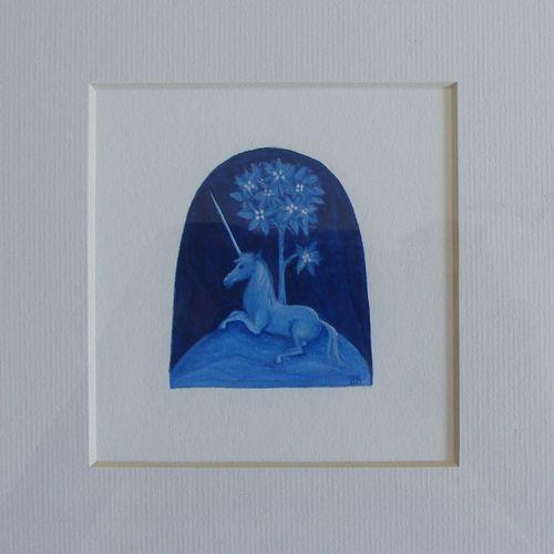 Barbara Bodziony, Jednorożec, iluminacja, papier, 7 x 6 cm