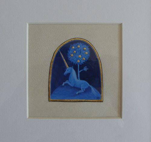 Barbara Bodziony, Jednorożec, iluminacja, złocenie, pergamin, 7 x 6 cm
